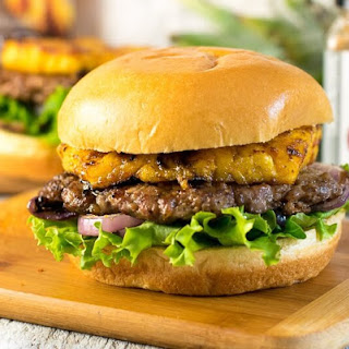Caribbean Pork Burger with Grilled Pineapple.