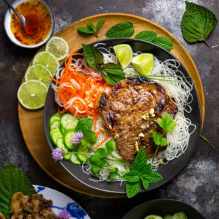Vietnamese Grilled Pork Chops (Thit Heo Nuong Xa) with Cold Rice Noodles.