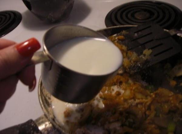 Stir in reserved flour, gradually add milk until blended.