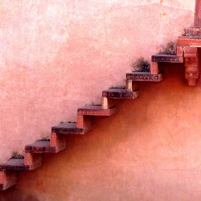 Fatehpur - Sikri, India by Saptarshi Datta - Buildings & Architecture Other Exteriors ( building, old, red, staircase, architecture, wall )