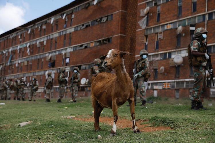 SANDF troops patrol hostels in Johannesburg to enforce the lockdown.