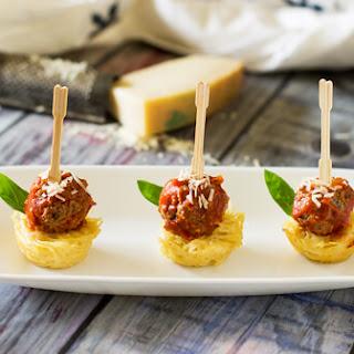 Mini Spaghetti and Meatball Appetizer.