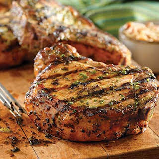 Grilled Pork Chops with Basil-Garlic Rub.