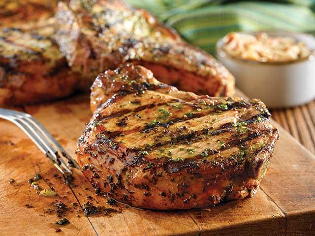 Grilled Pork Chops with Basil-Garlic Rub Recipe