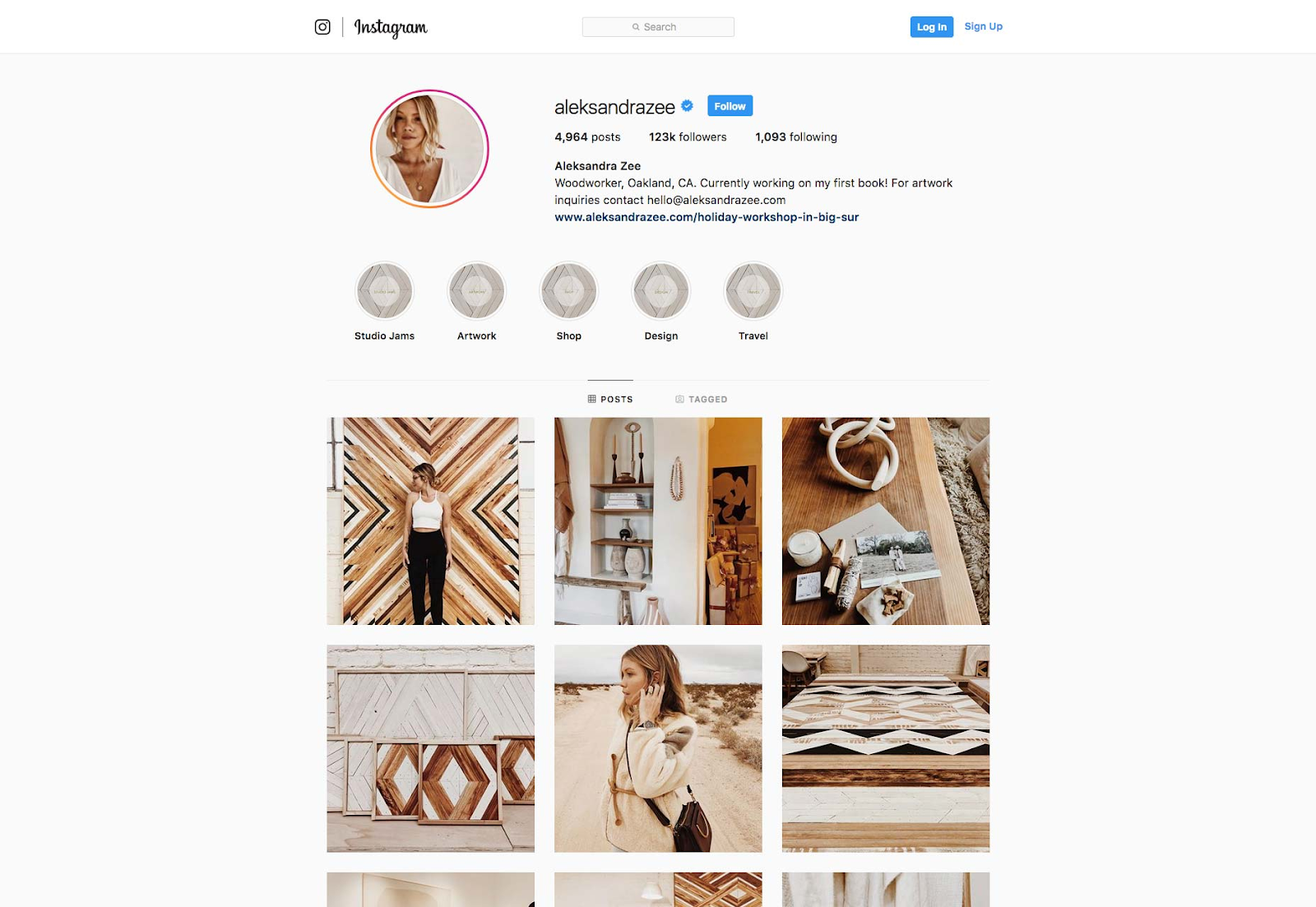 An Instagram Grid with a consistent theme