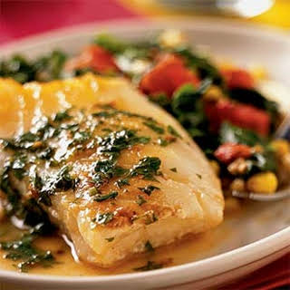 Sea Bass and Confetti Vegetables with Lemon-Butter Sauce.