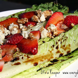 Grilled Salad with Strawberry Balsamic Reduction.