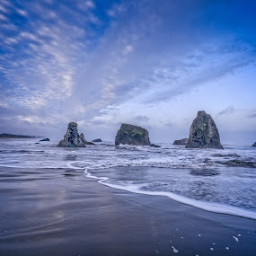 Oregon Beach Morning by Mike Moss - Landscapes Beaches ( oregon, waterscape, oregon coast, beach, morning )