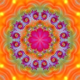Mandala 2 by Cassy 67 - Illustration Abstract & Patterns ( orange, kaleidoscope, abstract art, bright, colorful, digital art, fractal, fractals, digital, mandala )