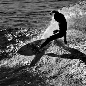 Shadow surfing by Dave Ross - Sports & Fitness Watersports ( water, surfing, shadow, ocean, beach )