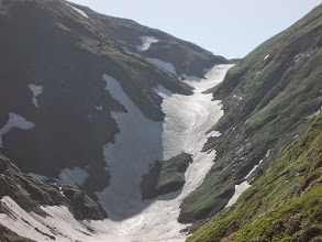 Photo: au dessus de l'Etang Long Col de Barlonguère et Tuc Blanc à Gauche , Soulane de Barrecul à Droite