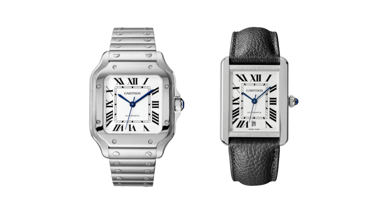 Two Cartier watches; a steel Santos de Cartier, and a Tank watch.