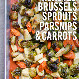 Rosemary Roasted Brussels Sprouts, Parsnips, and Carrots.