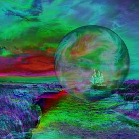 Adventurous journey by Cassy 67 - Digital Art Places ( digital, love, harmony, green, ocean, bubble, ship, abstract, sea, stone, digital art, energy )