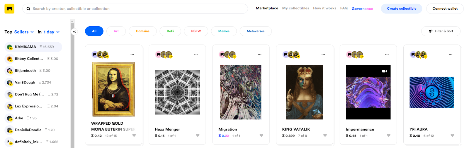Rarible lists a wide range of digital art collectibles