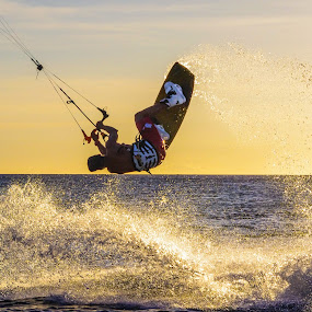 Kiteboarding the Sunset by Ryan Curtright - Sports & Fitness Other Sports ( water spray, sunset, kitesurfing, philippines, kiteboarding,  )