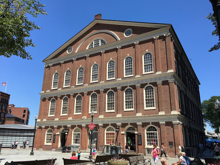 The entrance to Faneuil Hall.