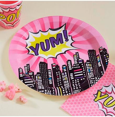 Tallrikar - Pop Art Superhero Pink