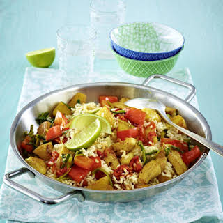 Chili Chicken with Brown Rice and Vegetables.
