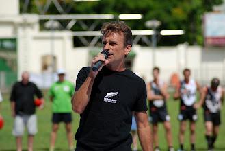 Photo: Steve Drummond sings the New Zealand National Anthem. Photo, Richard Quinn.