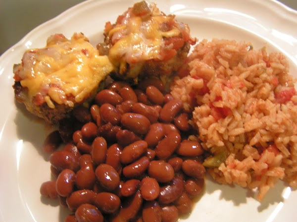 Serve with spanish rice, pinto beans and a slice of cornbread.