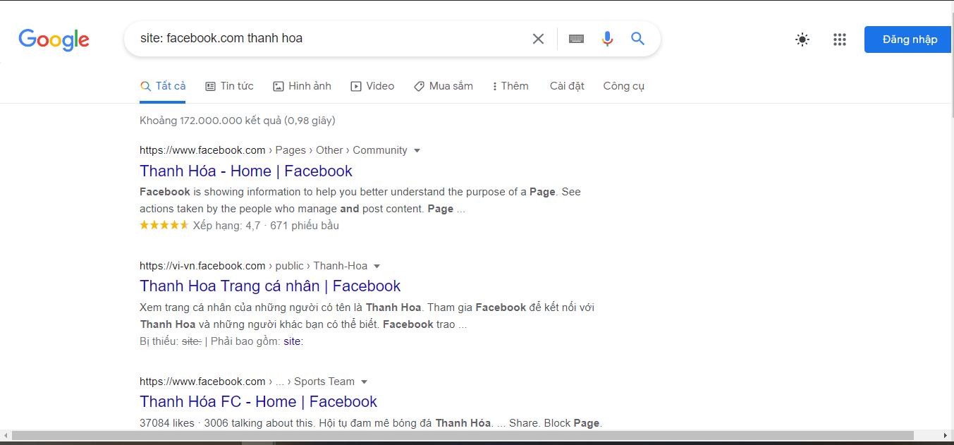 tìm người dùng facebook bằng google