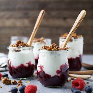 Yogurt Parfait with Mixed Berry Compote.