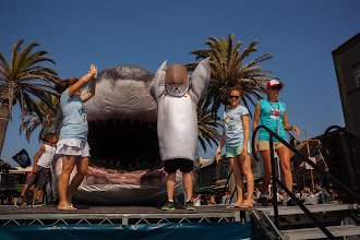 Photo: Dusky posing with Sharkzilla with campaign director Dominique Cano-Stocco and marine scientist Amanda Keledjian. Credit: Chris Panagakis
