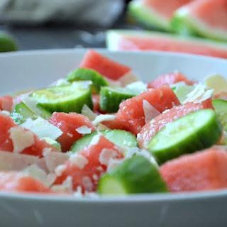 Cucumber Watermelon Asiago Salad
