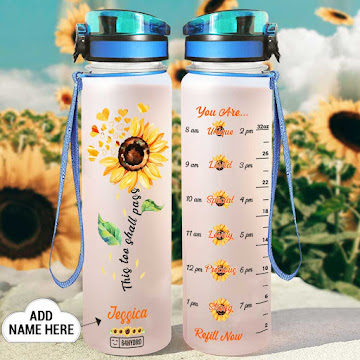 Skull Sunflower Motivational Water Tracker Bottle 32 Oz Fruit Infusion