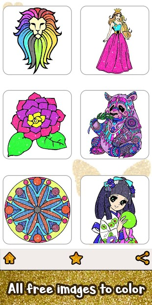 Glitter Color: Adult Coloring Book By Number Pages Android App Screenshot
