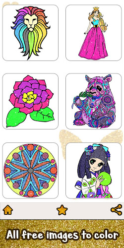 Adult Glitter Color by Number Book - Sandbox Pages Android App Screenshot