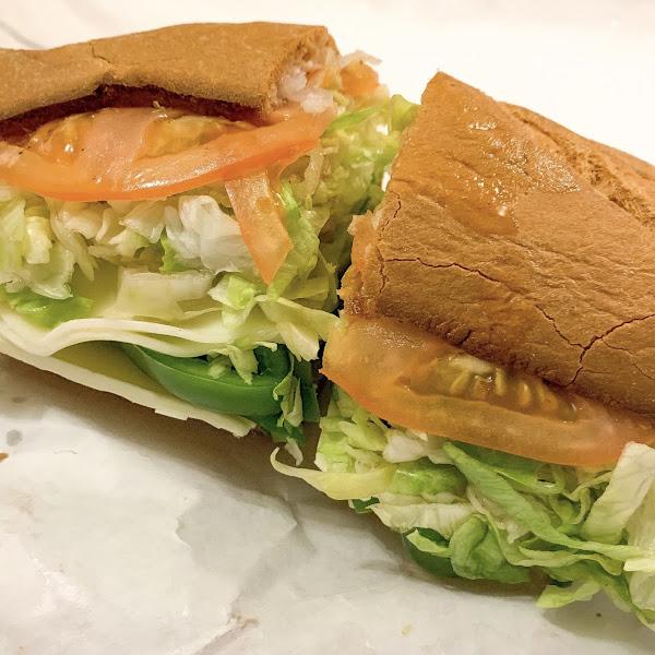 Veggie sub on toasted gluten free bread!