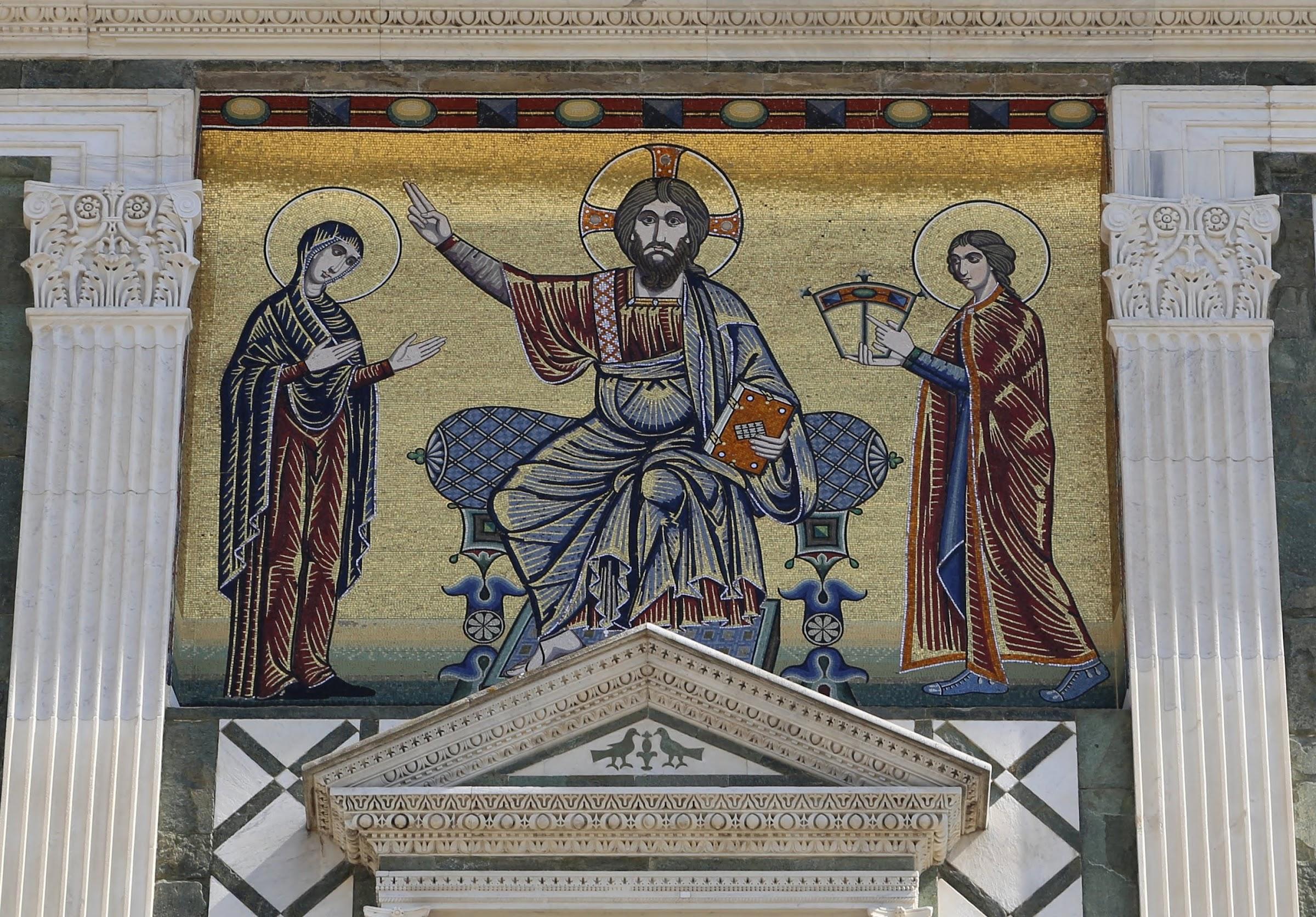 San Miniato al Monte, Firenze, la facciata con il mosaico di Cristo tra la Vergine e san Miniato, 1260 ca.