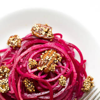 Apple + Beet Noodle Salad with Candied Quinoa.