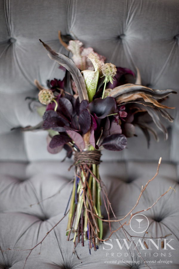 Photo: #Bouquet, #Feathers, #Twigs, #Creepy Chic HalloweenInspired Wedding. Wedding Planning, Event Design & Production by SWANK Productions at Hempstead House at Sands Point Preserve, www.swankproducti...