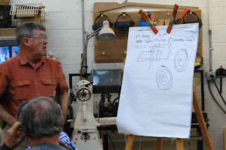 Photo: When Ernie sharpens his spindle tools he first puts them to the grinder and then to the buffing wheel.  Here he talks about the types of buffing wheels and compounds.