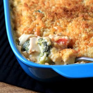 Cheesy Chicken Broccoli Noodle Casserole.