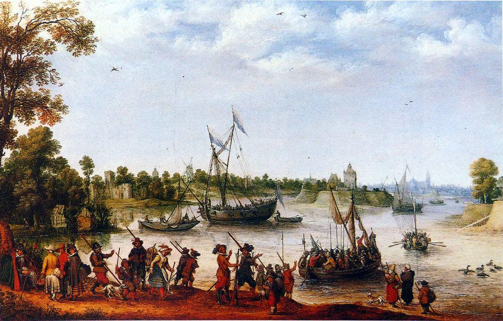 Het vertrek van de Pilgrims uit Delfshaven, 1620.
