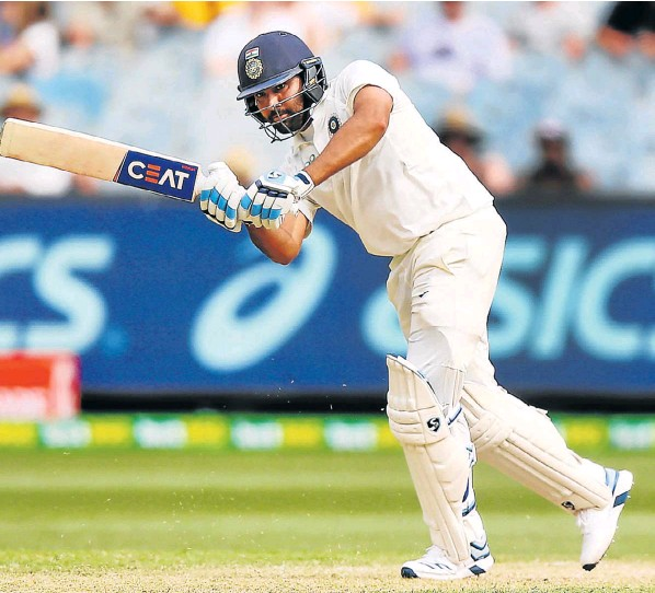 India's Rohit Sharma sends the ball away on day two of the third Test match in the series against India at the Melbourne Cricket Ground on Thursday. 28 December 2018
