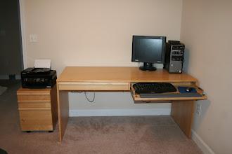 Photo: $150Ikea Desk+matching file cabinet+5-Shelf bookcase