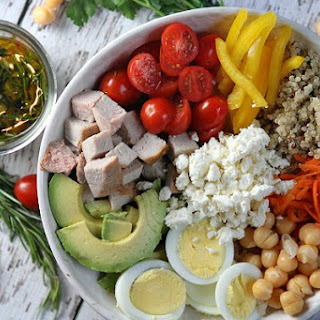 Roasted Pork Protein Bowls with Rosemary Vinaigrette