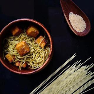 Green Tea Sesame Soba Noodles with Stir Fried Tofu.