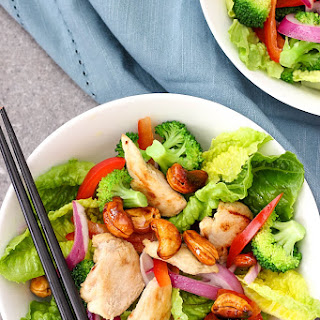 Chicken Romaine Salad with Honey Caramelised Cashews Recipe