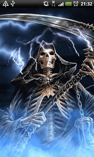 Download Blue Fire Grim Reaper Live Wallpaper Theme Apk Full