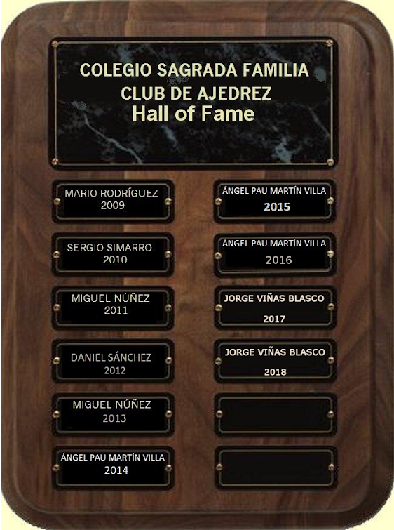 Hall of Fame Club Ajedrez               Colegio Sagrada Familia Pinto