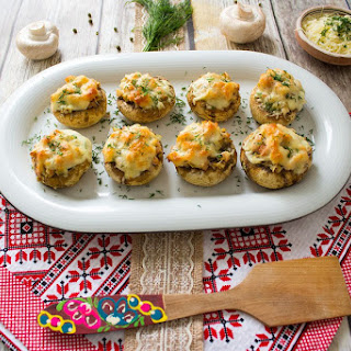 Stuffed Mushrooms With Ham And Cascaval Cheese.