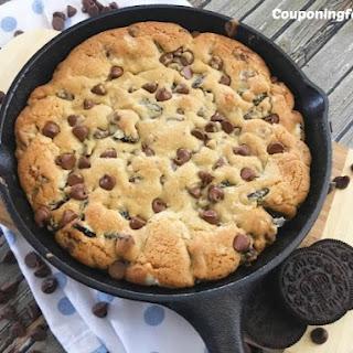 Cast Iron Oreo Chocolate Chip Cookie.