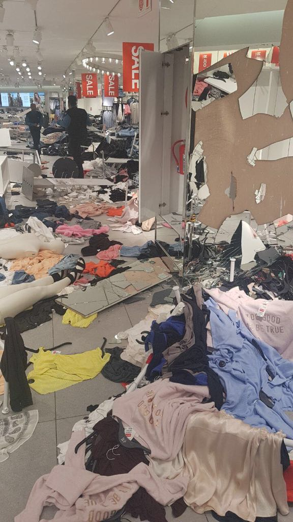 H&M store at Clear Water Mall after EFF members ransacked it over the racially offensive advert.