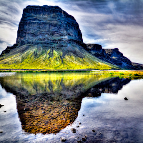 Lómagnúpur in Iceland by Steve Rogers - Landscapes Mountains & Hills ( moss, midnight, avalon-art.com, reflection, iceland, water )